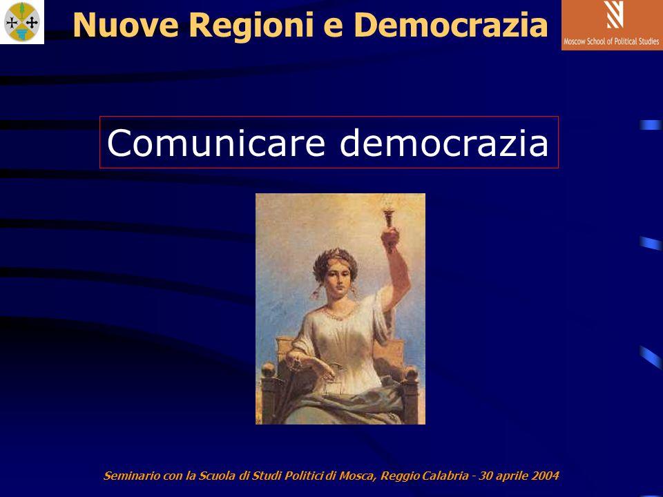 Seminario con la Scuola di Studi Politici di Mosca, Reggio Calabria - 30 aprile 2004 Nuove Regioni e Democrazia Comunicare democrazia