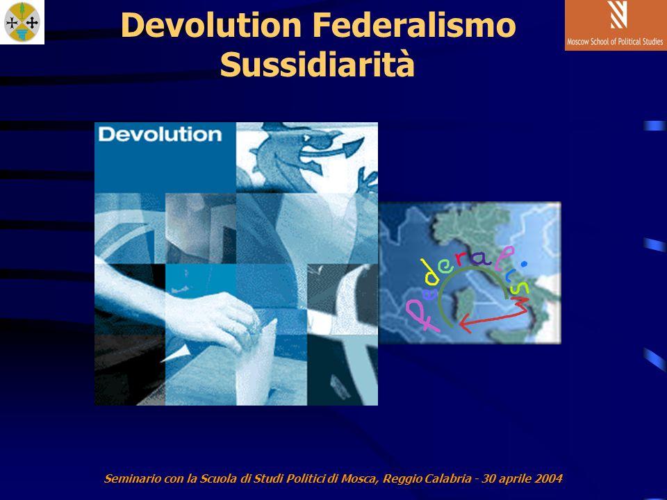 Seminario con la Scuola di Studi Politici di Mosca, Reggio Calabria - 30 aprile 2004 Devolution Federalismo Sussidiarità