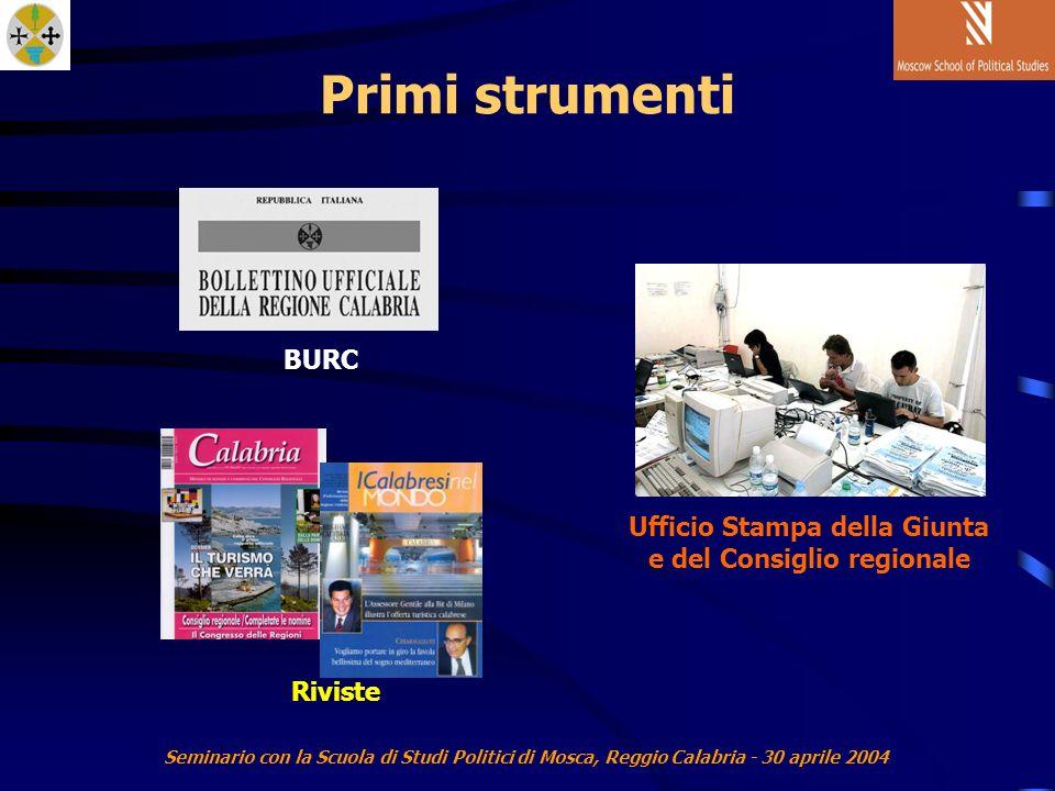 Seminario con la Scuola di Studi Politici di Mosca, Reggio Calabria - 30 aprile 2004 Primi strumenti Ufficio Stampa della Giunta e del Consiglio regionale BURC Riviste