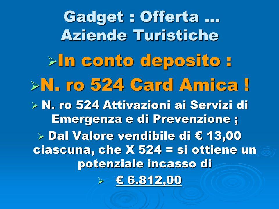 Gadget : Offerta … Aziende Turistiche Gadget : Offerta … Aziende Turistiche In conto deposito : In conto deposito : N. ro 524 Card Amica ! N. ro 524 C
