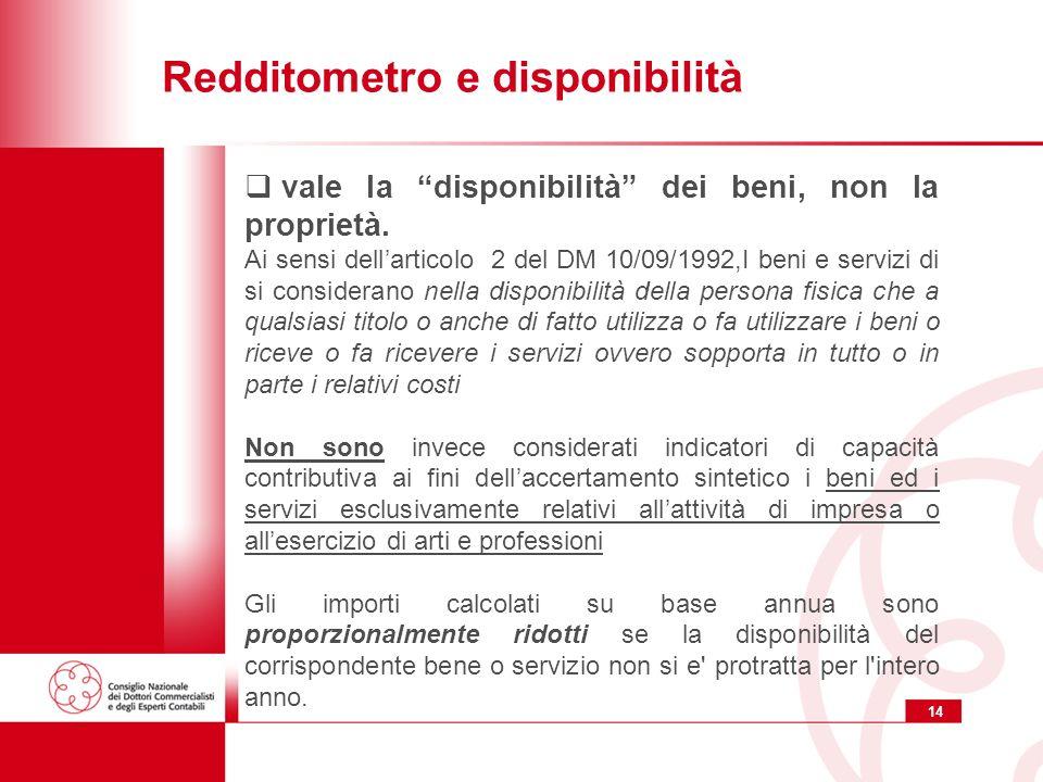 14 Redditometro e disponibilità vale la disponibilità dei beni, non la proprietà. Ai sensi dellarticolo 2 del DM 10/09/1992,I beni e servizi di si con