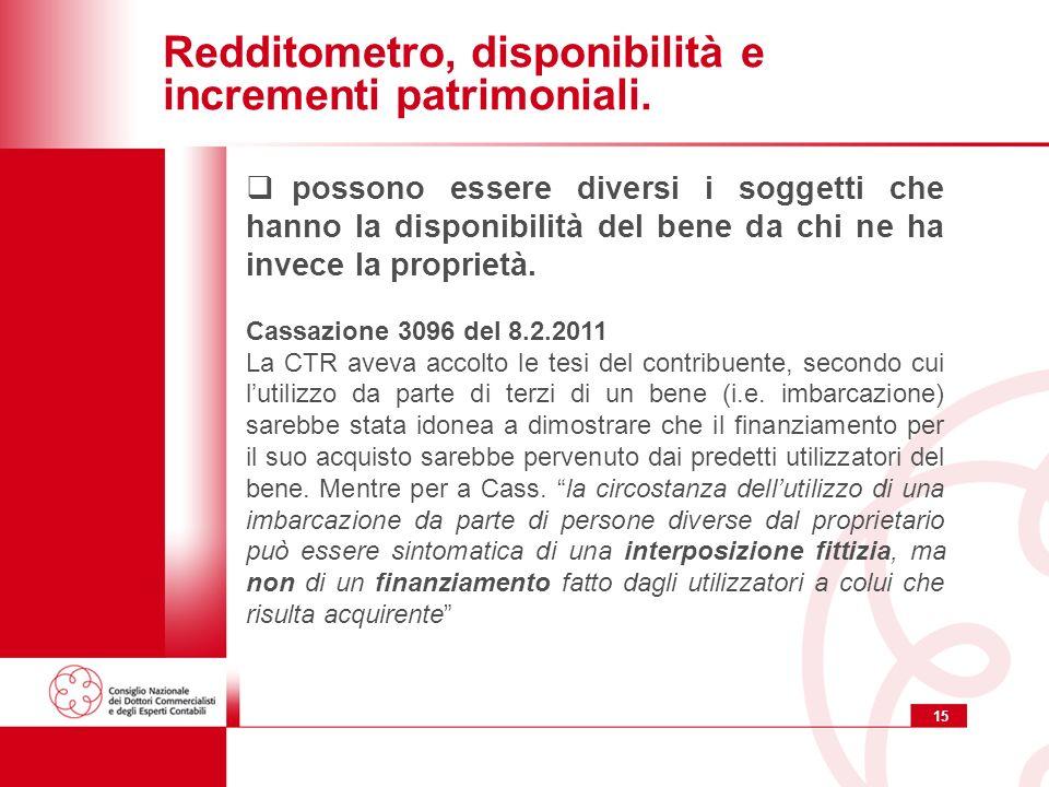 15 Redditometro, disponibilità e incrementi patrimoniali.