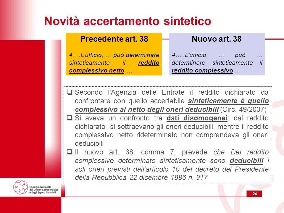 24 Novità accertamento sintetico Nuovo art. 38 4…..Lufficio, … può … determinare sinteticamente il reddito complessivo … Precedente art. 38 4….Luffici