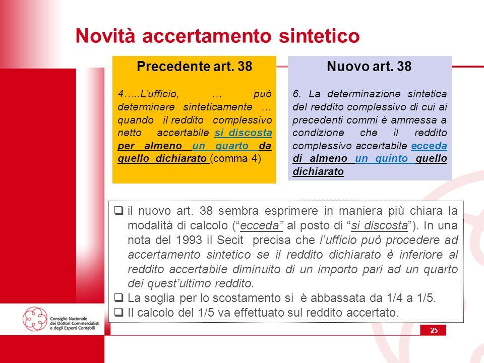 25 Novità accertamento sintetico Nuovo art. 38 6.