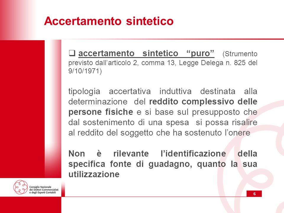 6 Accertamento sintetico accertamento sintetico puro (Strumento previsto dallarticolo 2, comma 13, Legge Delega n. 825 del 9/10/1971) tipologia accert