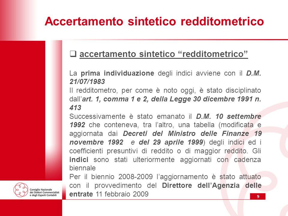 9 Accertamento sintetico redditometrico accertamento sintetico redditometrico La prima individuazione degli indici avviene con il D.M. 21/07/1983 Il r