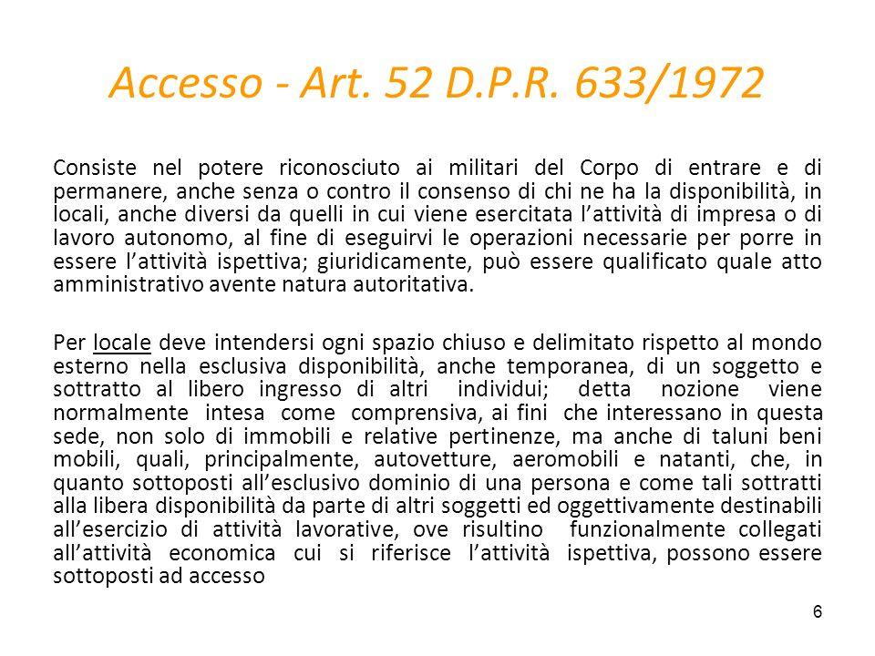7 Accesso presso locali commerciali e professionali – 1° livello Art.