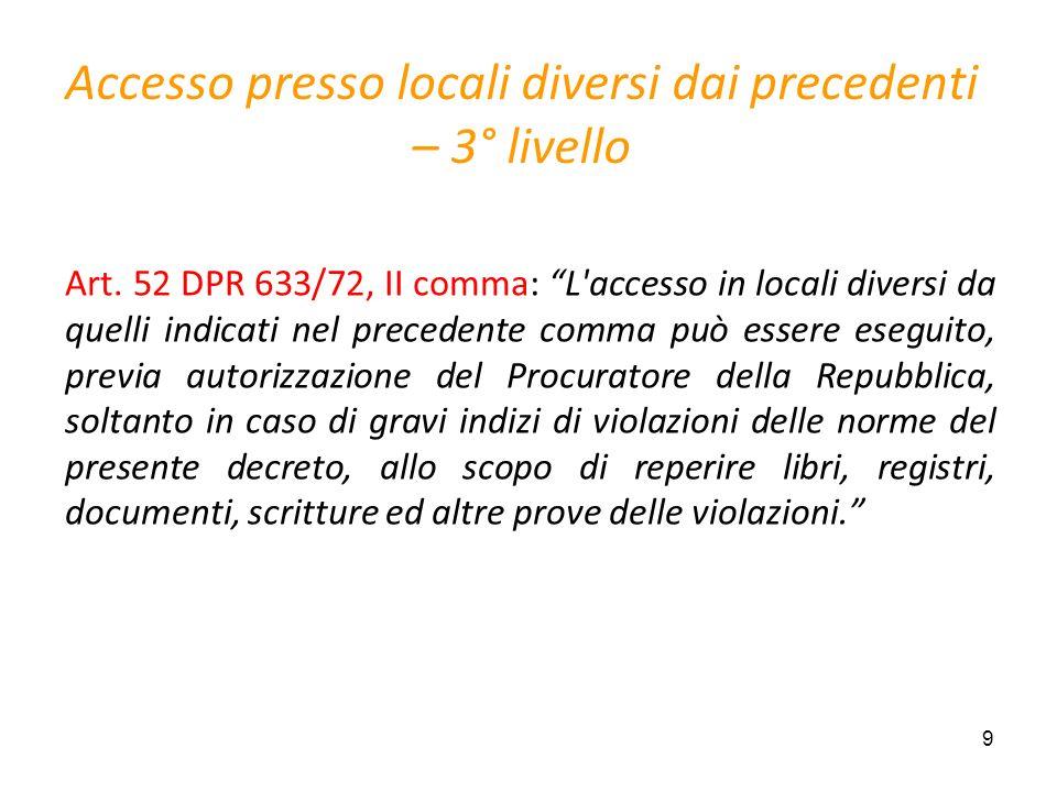 9 Accesso presso locali diversi dai precedenti – 3° livello Art. 52 DPR 633/72, II comma: L'accesso in locali diversi da quelli indicati nel precedent
