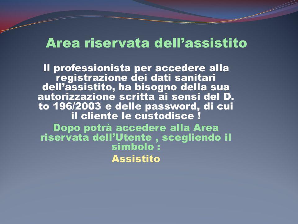 Area riservata dellassistito Il professionista per accedere alla registrazione dei dati sanitari dellassistito, ha bisogno della sua autorizzazione scritta ai sensi del D.