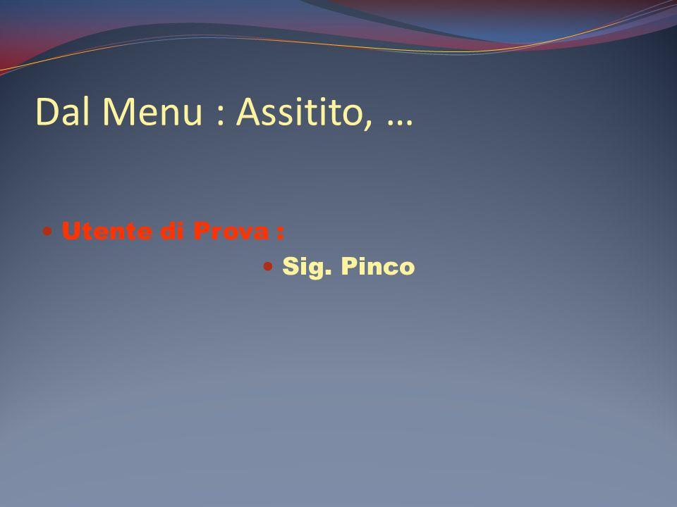 Dal Menu : Assitito, … Utente di Prova : Sig. Pinco