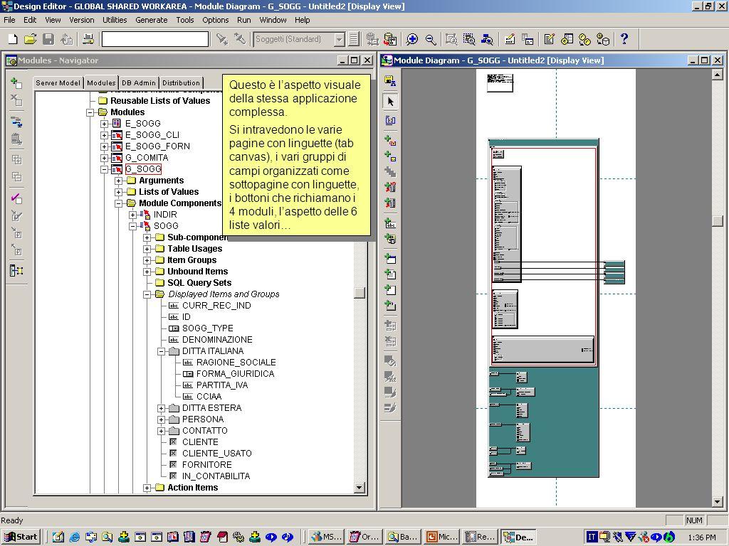 Questa è la struttura di una applicazione molto complessa, contiene 3 componenti relazionati tra loro, 1 sub componente, 6 lookup, 6 liste valori rich