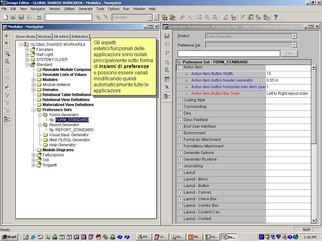 Questo è laspetto visuale della stessa applicazione complessa. Si intravedono le varie pagine con linguette (tab canvas), i vari gruppi di campi organ
