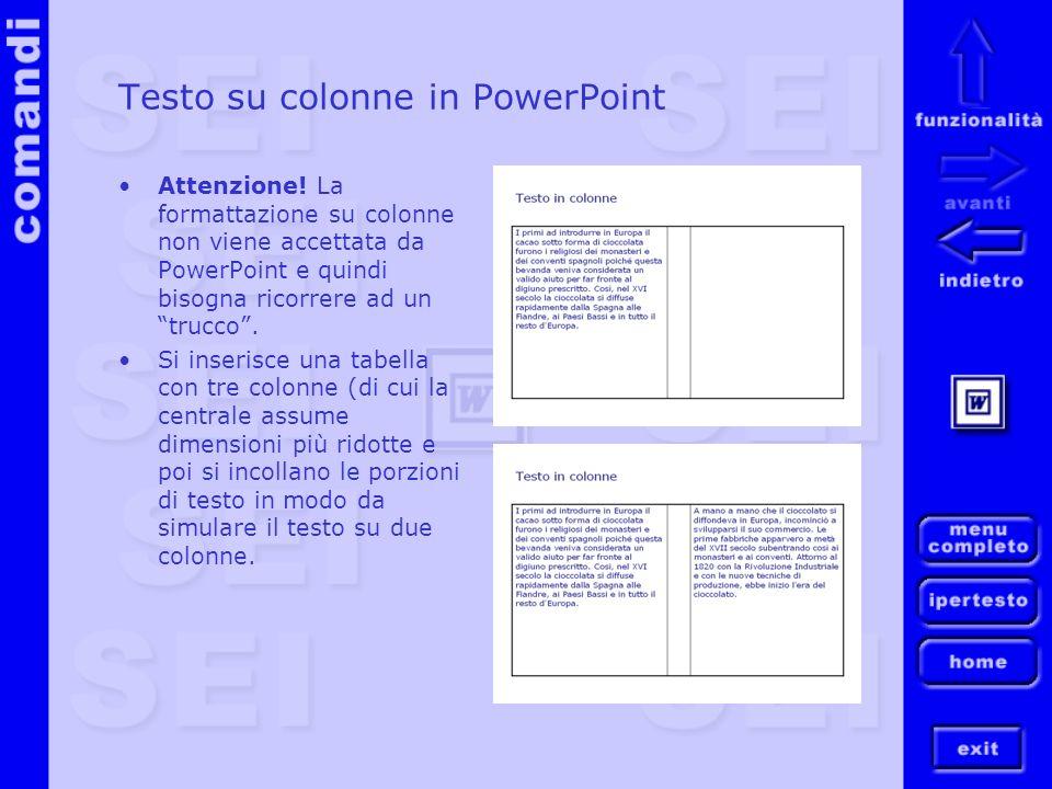 Testo su colonne in PowerPoint Attenzione! La formattazione su colonne non viene accettata da PowerPoint e quindi bisogna ricorrere ad un trucco. Si i