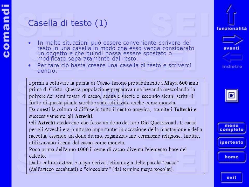 Casella di testo (1) In molte situazioni può essere conveniente scrivere del testo in una casella in modo che esso venga considerato un oggetto e che