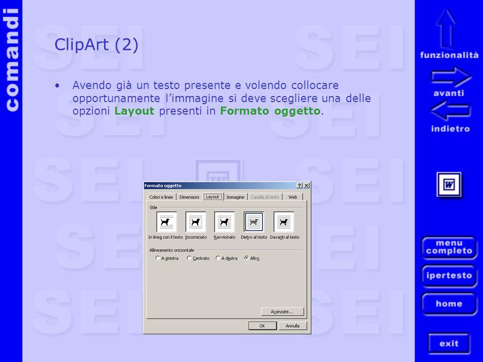 ClipArt (2) Avendo già un testo presente e volendo collocare opportunamente limmagine si deve scegliere una delle opzioni Layout presenti in Formato o