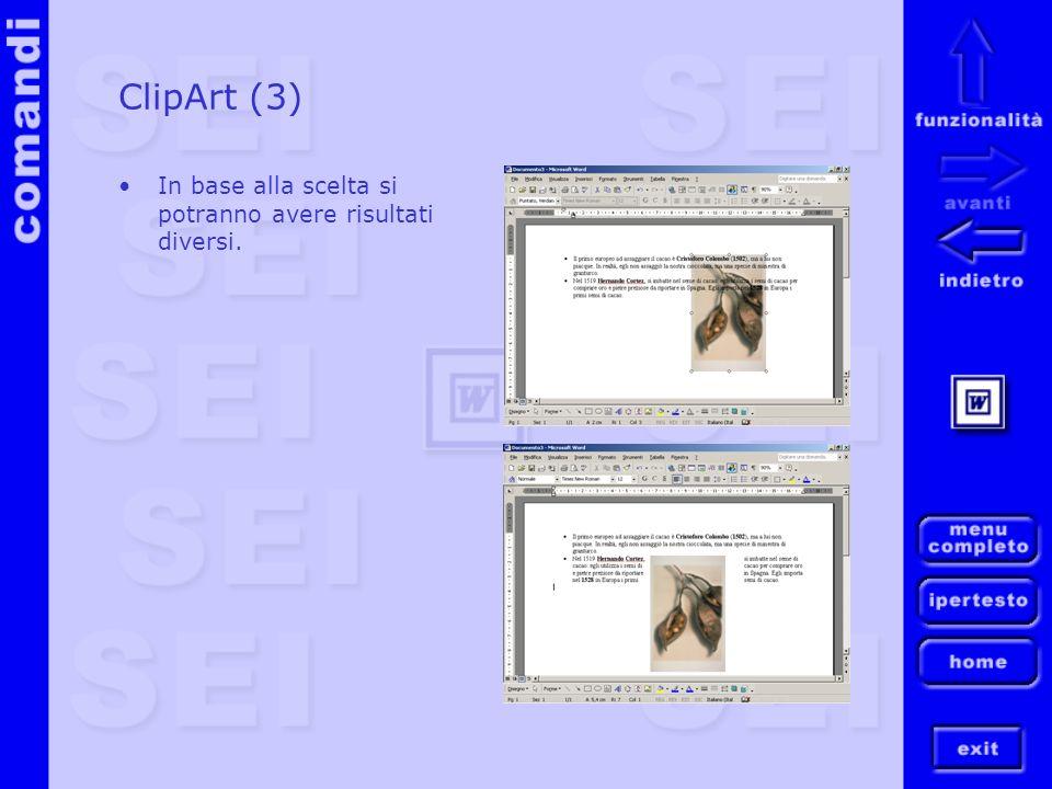 ClipArt (3) In base alla scelta si potranno avere risultati diversi.
