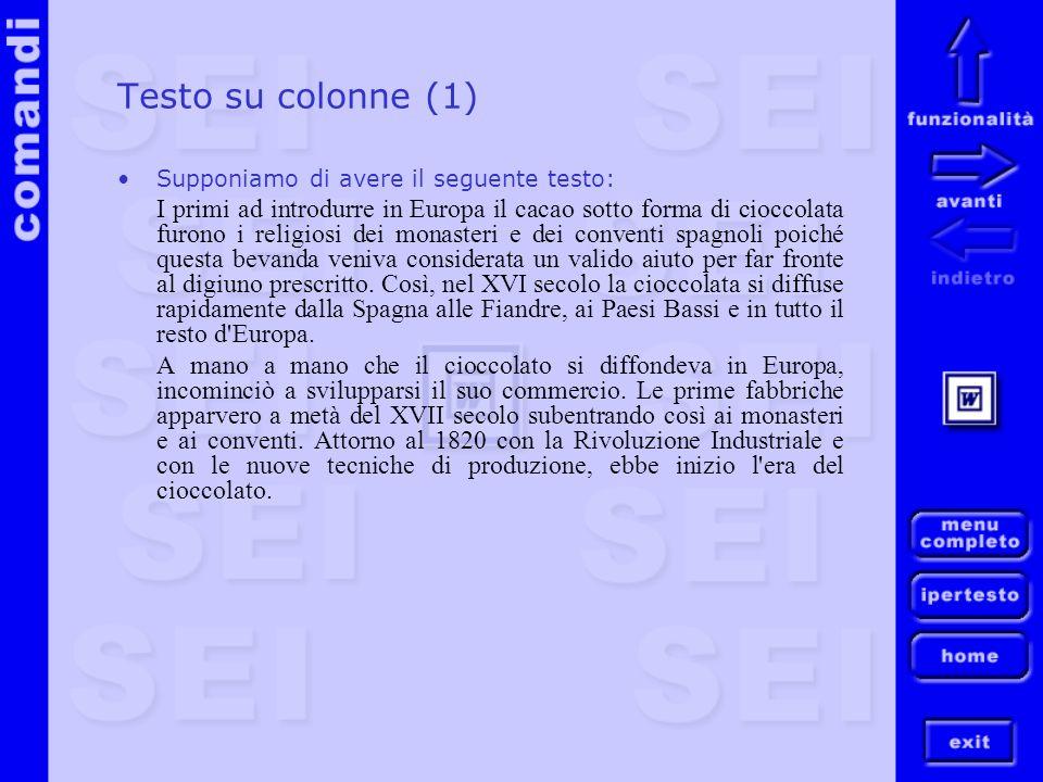 Testo su colonne (1) Supponiamo di avere il seguente testo: I primi ad introdurre in Europa il cacao sotto forma di cioccolata furono i religiosi dei
