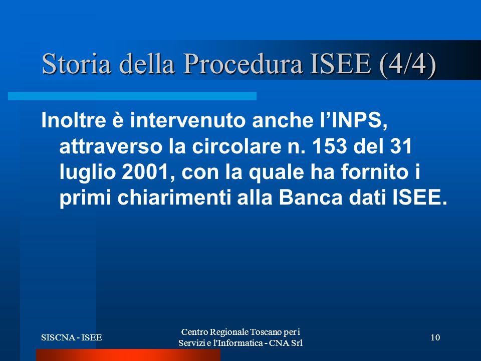 SISCNA - ISEE Centro Regionale Toscano per i Servizi e l Informatica - CNA Srl 10 Storia della Procedura ISEE (4/4) Inoltre è intervenuto anche lINPS, attraverso la circolare n.