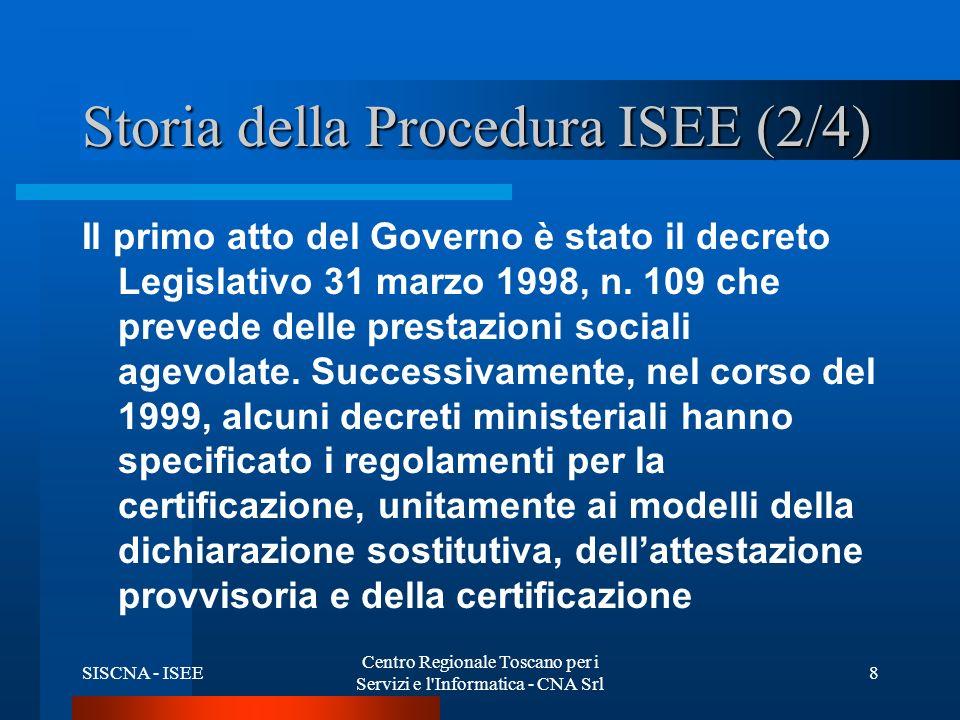 SISCNA - ISEE Centro Regionale Toscano per i Servizi e l Informatica - CNA Srl 8 Storia della Procedura ISEE (2/4) Il primo atto del Governo è stato il decreto Legislativo 31 marzo 1998, n.