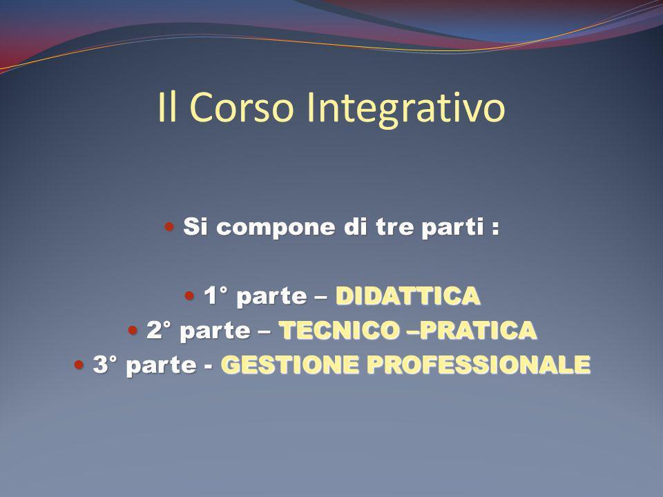 Il Corso Integrativo Si compone di tre parti : Si compone di tre parti : 1° parte – DIDATTICA 1° parte – DIDATTICA 2° parte – TECNICO –PRATICA 2° part