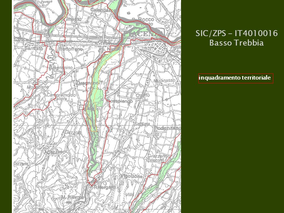 SIC/ZPS - IT4010016 Basso Trebbia inquadramento territoriale
