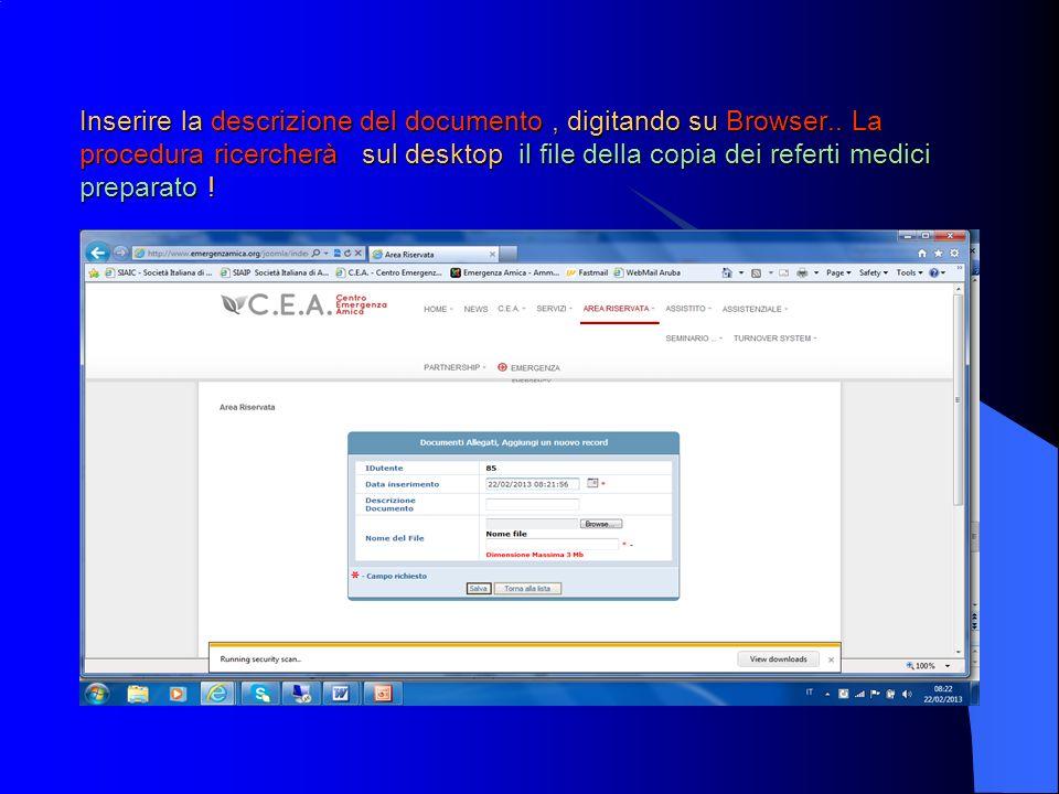 Inserire la descrizione del documento, digitando su Browser..