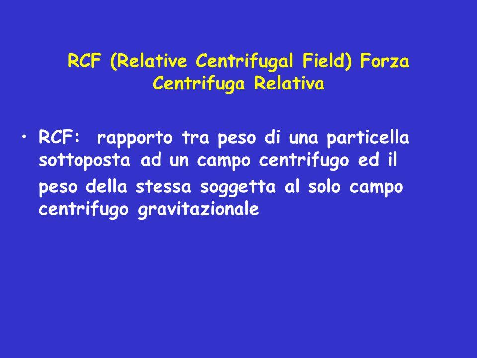 RCF (Relative Centrifugal Field) Forza Centrifuga Relativa RCF: rapporto tra peso di una particella sottoposta ad un campo centrifugo ed il peso della