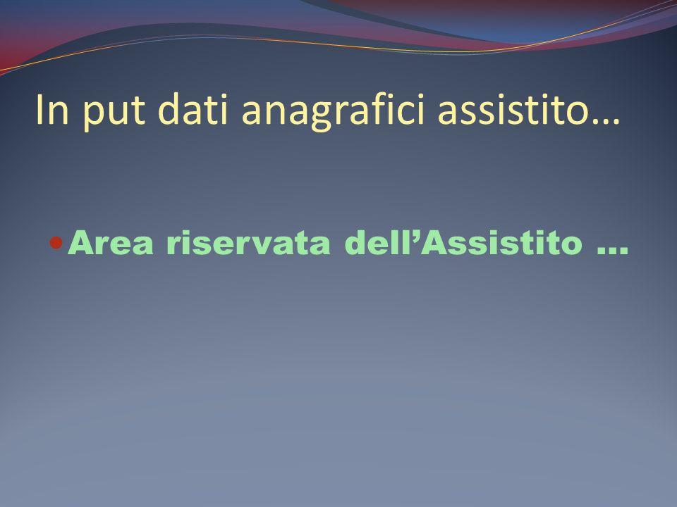 In put dati anagrafici assistito… Area riservata dellAssistito …
