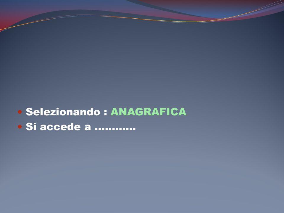 Selezionando : ANAGRAFICA Si accede a …………