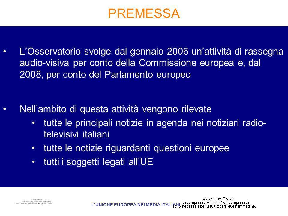 PREMESSA LOsservatorio svolge dal gennaio 2006 unattività di rassegna audio-visiva per conto della Commissione europea e, dal 2008, per conto del Parlamento europeo Nellambito di questa attività vengono rilevate tutte le principali notizie in agenda nei notiziari radio- televisivi italiani tutte le notizie riguardanti questioni europee tutti i soggetti legati allUE LUNIONE EUROPEA NEI MEDIA ITALIANI