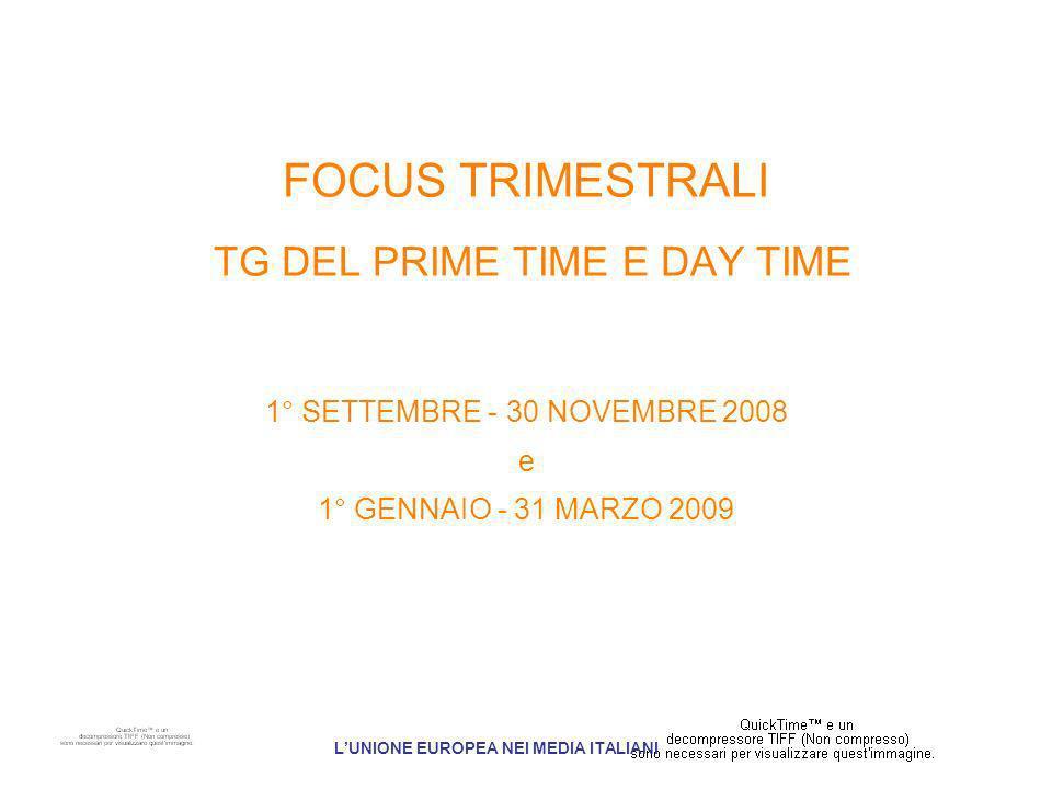 FOCUS TRIMESTRALI TG DEL PRIME TIME E DAY TIME 1° SETTEMBRE - 30 NOVEMBRE 2008 e 1° GENNAIO - 31 MARZO 2009 LUNIONE EUROPEA NEI MEDIA ITALIANI