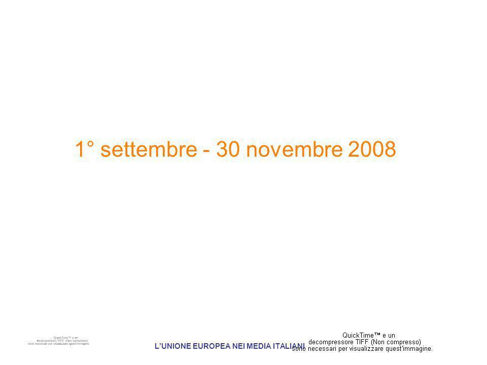 1° settembre - 30 novembre 2008 LUNIONE EUROPEA NEI MEDIA ITALIANI