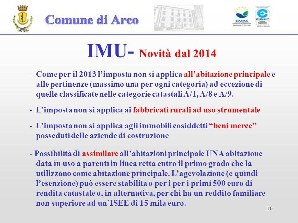 16 IMU- Novità dal 2014 - Possibilità di assimilare allabitazioni principale UNA abitazione data in uso a parenti in linea retta entro il primo grado che la utilizzano come abitazione principale.