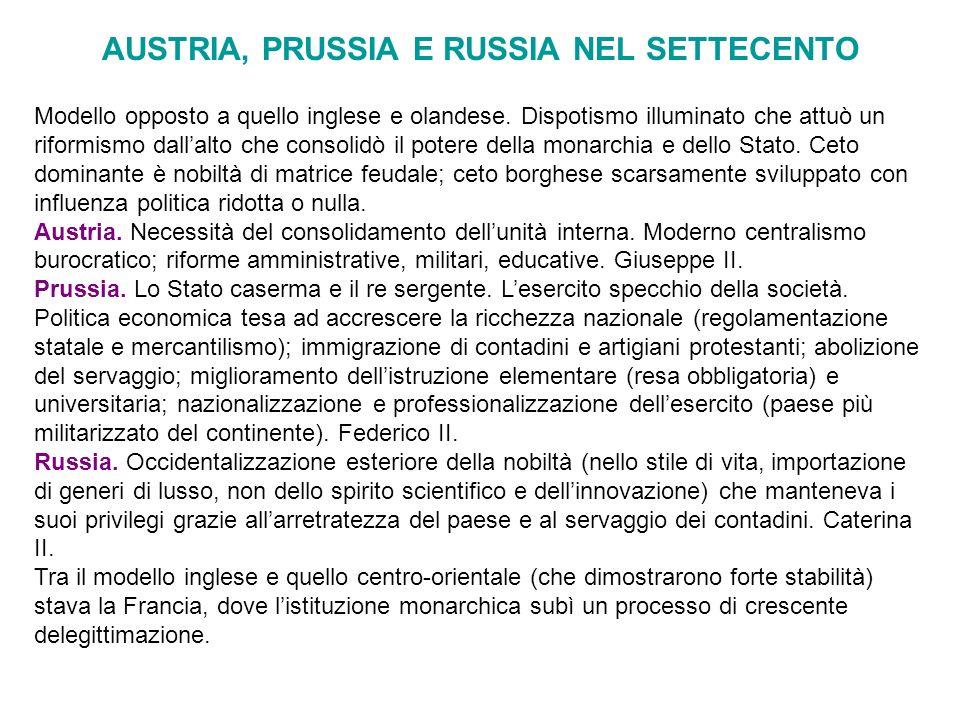 AUSTRIA, PRUSSIA E RUSSIA NEL SETTECENTO Modello opposto a quello inglese e olandese. Dispotismo illuminato che attuò un riformismo dallalto che conso