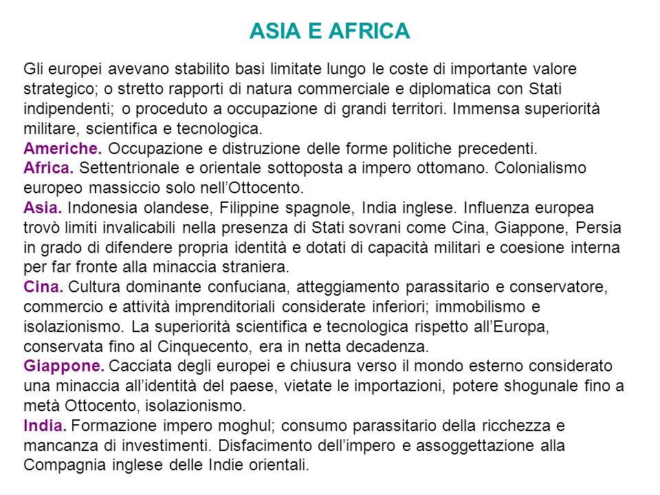 ASIA E AFRICA Gli europei avevano stabilito basi limitate lungo le coste di importante valore strategico; o stretto rapporti di natura commerciale e d