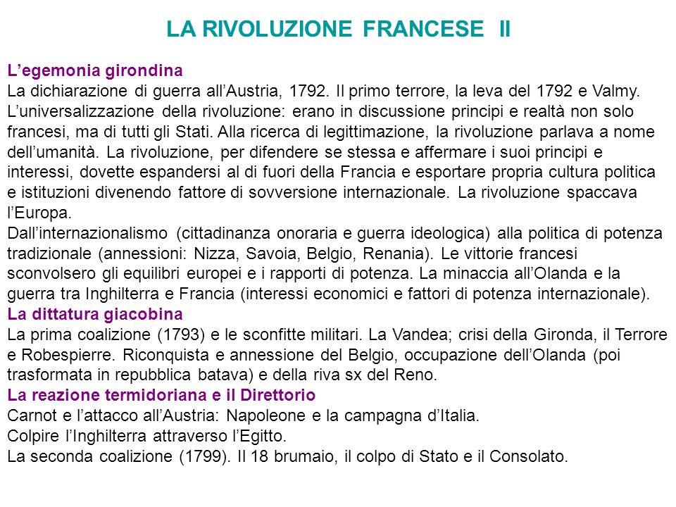 LA RIVOLUZIONE FRANCESE II Legemonia girondina La dichiarazione di guerra allAustria, 1792. Il primo terrore, la leva del 1792 e Valmy. Luniversalizza