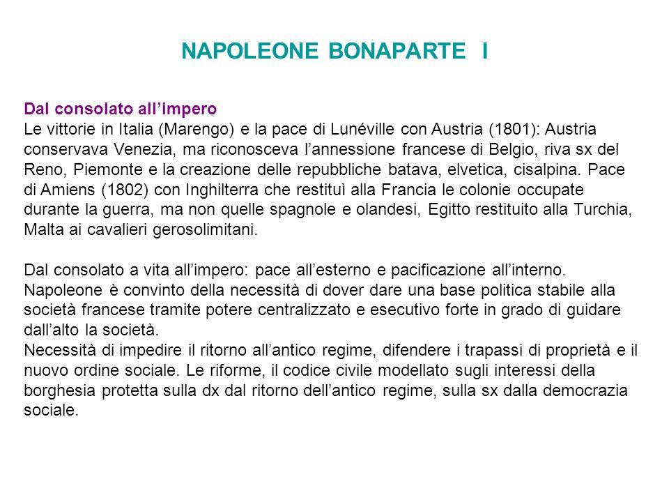 NAPOLEONE BONAPARTE I Dal consolato allimpero Le vittorie in Italia (Marengo) e la pace di Lunéville con Austria (1801): Austria conservava Venezia, m