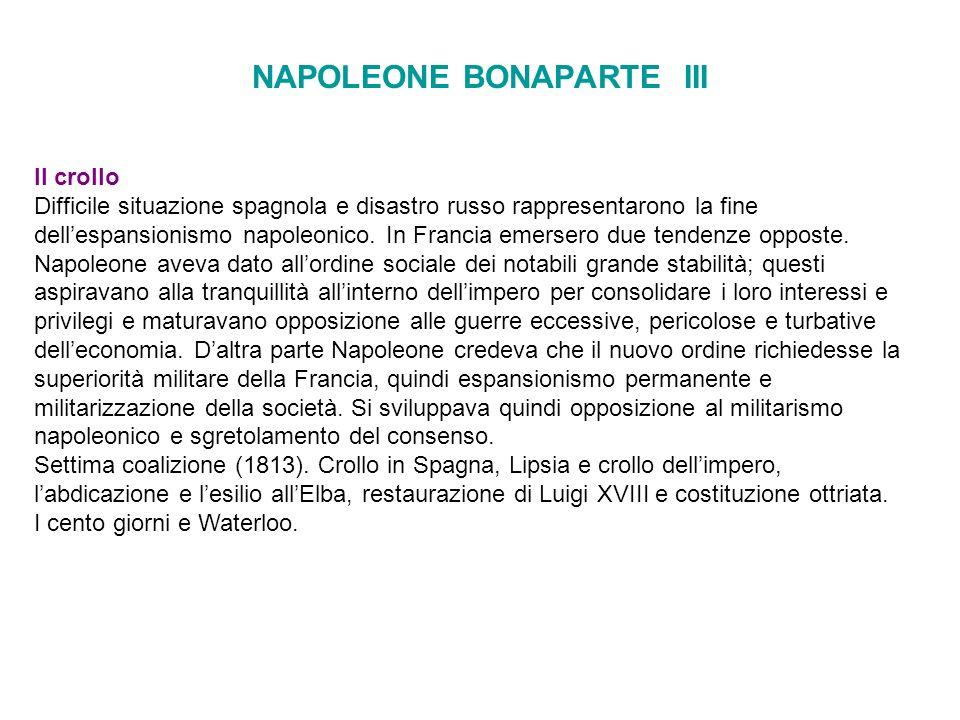 NAPOLEONE BONAPARTE III Il crollo Difficile situazione spagnola e disastro russo rappresentarono la fine dellespansionismo napoleonico. In Francia eme
