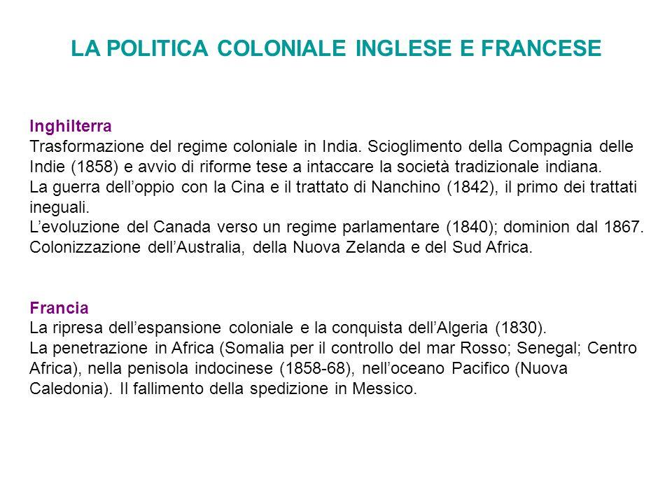LA POLITICA COLONIALE INGLESE E FRANCESE Inghilterra Trasformazione del regime coloniale in India. Scioglimento della Compagnia delle Indie (1858) e a