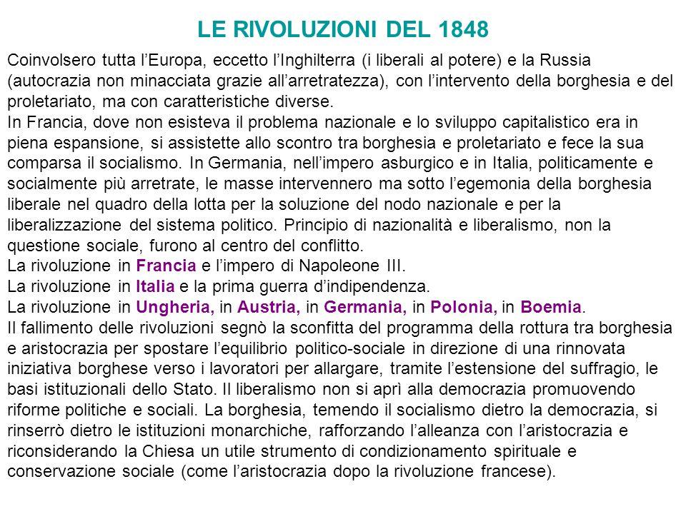 LE RIVOLUZIONI DEL 1848 Coinvolsero tutta lEuropa, eccetto lInghilterra (i liberali al potere) e la Russia (autocrazia non minacciata grazie allarretr