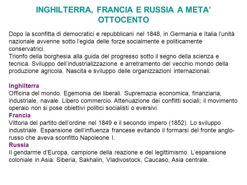 INGHILTERRA, FRANCIA E RUSSIA A META OTTOCENTO Dopo la sconfitta di democratici e repubblicani nel 1848, in Germania e Italia lunità nazionale avvenne
