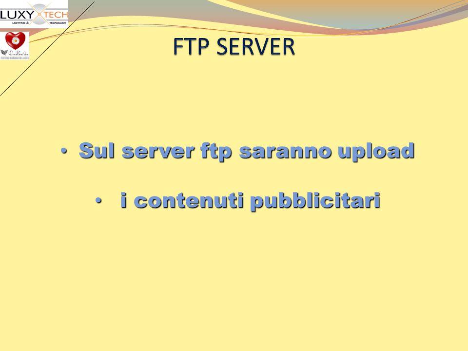 Sul server ftp saranno upload Sul server ftp saranno upload i contenuti pubblicitari i contenuti pubblicitari
