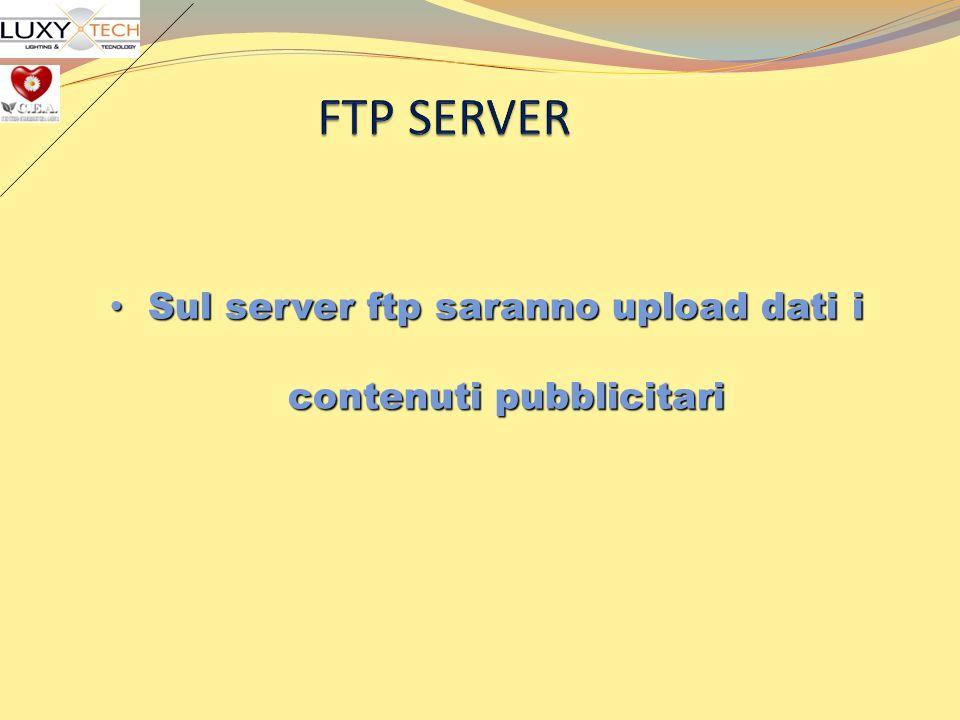 Sul server ftp saranno upload dati i contenuti pubblicitari Sul server ftp saranno upload dati i contenuti pubblicitari
