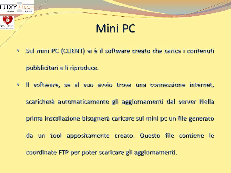 Sul mini PC (CLIENT) vi è il software creato che carica i contenuti pubblicitari e li riproduce. Sul mini PC (CLIENT) vi è il software creato che cari