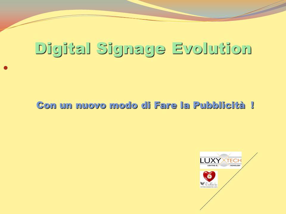 Digital Signage Evolution Con un nuovo modo di Fare la Pubblicità ! Con un nuovo modo di Fare la Pubblicità !