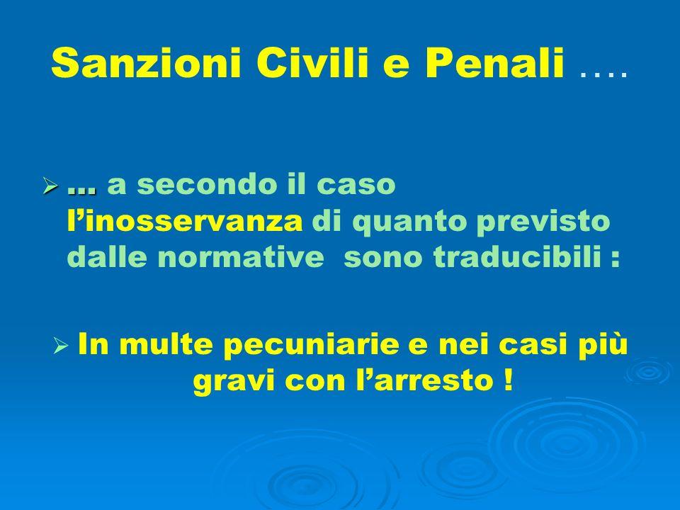 Sanzioni Civili e Penali …. … … a secondo il caso linosservanza di quanto previsto dalle normative sono traducibili : In multe pecuniarie e nei casi p