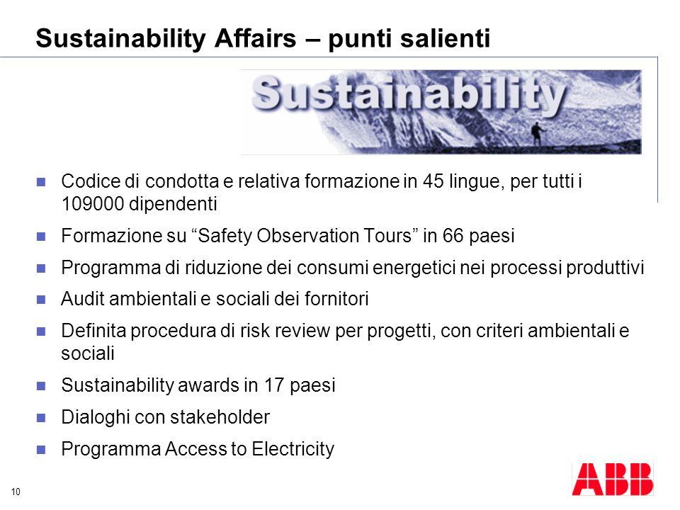 10 Sustainability Affairs – punti salienti Codice di condotta e relativa formazione in 45 lingue, per tutti i 109000 dipendenti Formazione su Safety O
