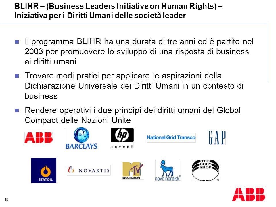 19 Il programma BLIHR ha una durata di tre anni ed è partito nel 2003 per promuovere lo sviluppo di una risposta di business ai diritti umani Trovare