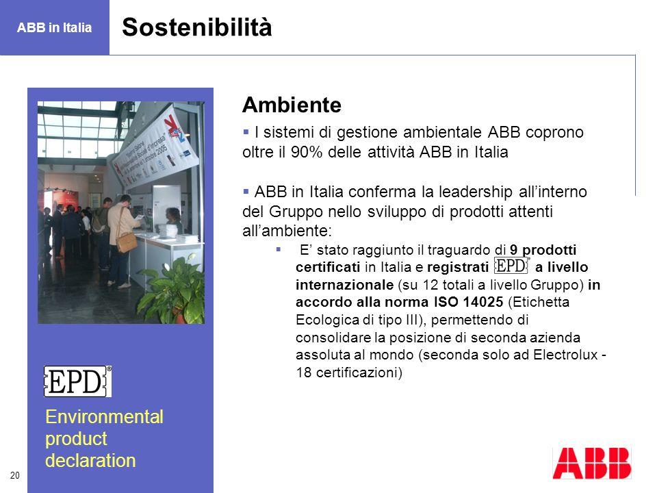 20 Ambiente I sistemi di gestione ambientale ABB coprono oltre il 90% delle attività ABB in Italia ABB in Italia conferma la leadership allinterno del
