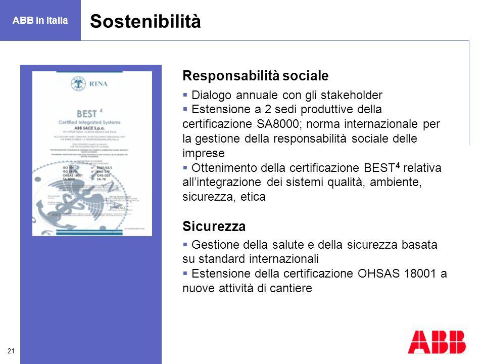21 Sostenibilità Responsabilità sociale Dialogo annuale con gli stakeholder Estensione a 2 sedi produttive della certificazione SA8000; norma internaz